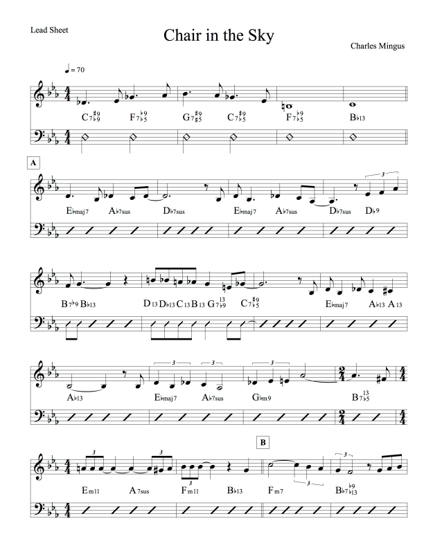 Chair in the Sky lead sheet